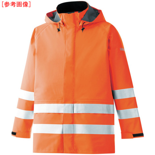 トラスコ中山 ミドリ安全 雨衣 レインベルデN 高視認仕様 上衣 蛍光オレンジ 3L RAINVERDENUEOR3L