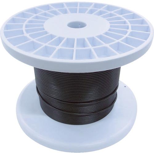 トラスコ中山 ニッサチェイン 黒コーティングワイヤロープ 2.0mm×100m 1巻 TSY20VBK