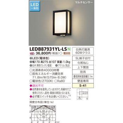 東芝 LEDアウトドアブラケット LEDB87931YL-LS