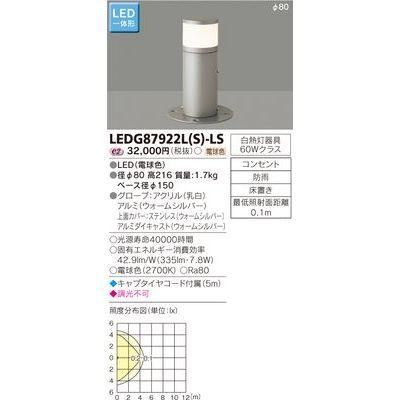 東芝 LEDガーデンライト・門柱灯 LEDG87922L(S)-LS