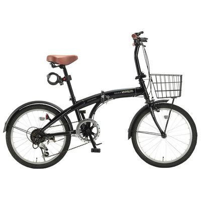 マイパラス ドルフィンフレームのスタイリッシュな折畳自転車バスケット・ライト・カギが標準装備! (ブラック) HCS-01-BK