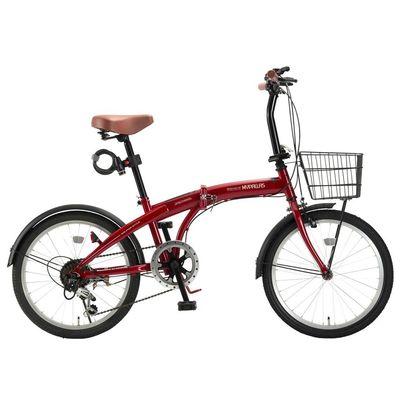 マイパラス ドルフィンフレームのスタイリッシュな折畳自転車バスケット・ライト・カギが標準装備! (レッド) HCS-01-RD