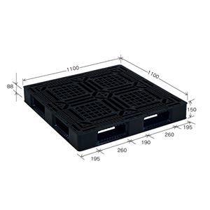 その他 【10枚セット】 樹脂パレット/軽量パレット 【JL-D4・1111G】 ブラック 材質:再生PP 安全設計【代引不可】 ds-2041886