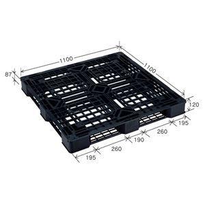 その他 【10枚セット】 樹脂パレット/軽量パレット 【JL-D4・1111E(5)】 ブラック 材質:再生PP 安全設計【代引不可】 ds-2041888