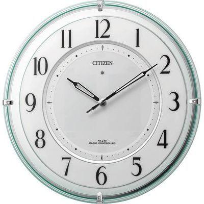 リズム時計 シチズン 電波時計 掛け時計 ソーラー補助電源 クリスタル飾り付き 直径34.6cm (グリーン(透明色)) 4MY851-005