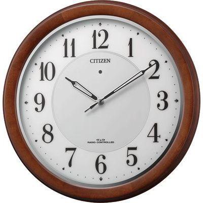 リズム時計 シチズン 電波時計 掛け時計 ソーラー補助電源 直径34cm 木枠(茶色半艶仕上げ) 4MY852-006