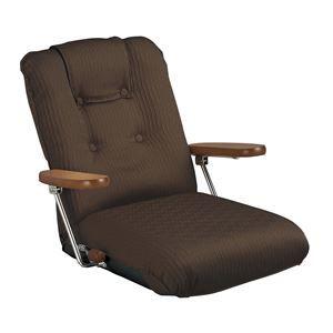 その他 ポンプ肘式座椅子 肘掛け 13段階リクライニング/ハイバック/転倒防止機構採用 日本製 ブラウン 【完成品】 ds-1647935