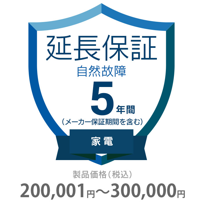 その他 5年間延長保証 自然故障 家電(エアコン・冷蔵庫以外) 200001~300000円 K5-SK-253124