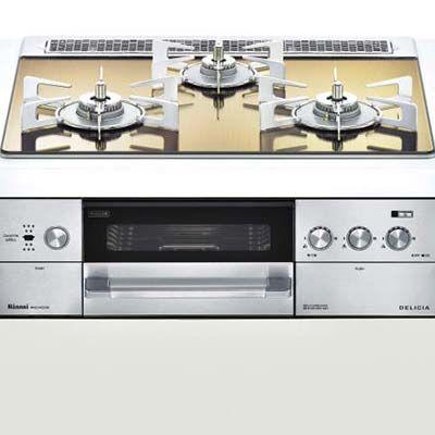 リンナイ 『DELICIA(デリシア)』 ビルトインコンロ 3V乾電池 コンロ + オーブン設置 (幅 60cm)【ココットプレート付属】(ホワイトドットプレート)(都市ガス用12A・13A) RHS31W22E3R2-STW-13A