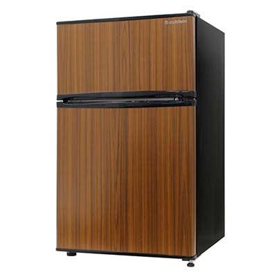 エスキュービズム 2ドア 冷凍冷蔵庫 90L 木目調 (ダークウッド) RM-90L02DW
