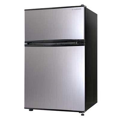 エスキュービズム 2ドア 冷凍冷蔵庫 90L (シルバーヘアライン) RM-90L02SL
