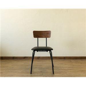 その他 ダイニングチェア/食卓椅子 【2脚セット ウォールナット】 幅44cm スチールフレーム 合成皮革張地 『BRUNO』 〔台所 リビング〕 ds-2078913