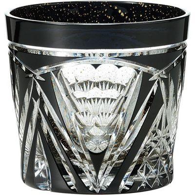 東洋佐々木ガラス オンザロックグラス 八千代切子 墨色 扇柄 1コ入 4906678187790【納期目安:2週間】