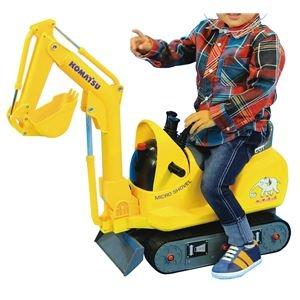 その他 乗用マイクロショベル/子供用玩具 【幅26cm】 対象年齢3~8歳 耐荷重25kg ヘルメット付き 転倒防止機能 『NEWコマツイエロー』【代引不可】 ds-2084721