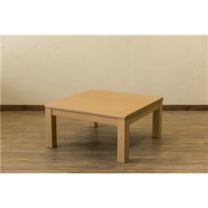 その他 三段継ぎ足 ダイニングこたつテーブル 本体 【80cm×80cm ナチュラル】 正方形 ハロゲンヒーター コントローラー 木製脚付き ds-2088122