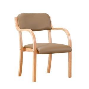 その他 立ち座りサポートチェア/椅子 【ブラウン 1脚】 肘付き スタッキング可 張地:合成皮革/合皮 〔業務用 家庭用 オフィス〕 ds-2091356