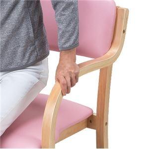 その他 立ち座りサポートチェア/椅子 【ピンク 2脚組】 肘付き スタッキング可 張地:合成皮革/合皮 〔業務用 家庭用 オフィス〕【代引不可】 ds-2091361