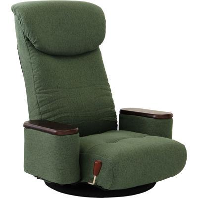ヤマソロ 木製ボックス肘付回転座椅子【松風-まつかぜ-】(グリーン) 83-873