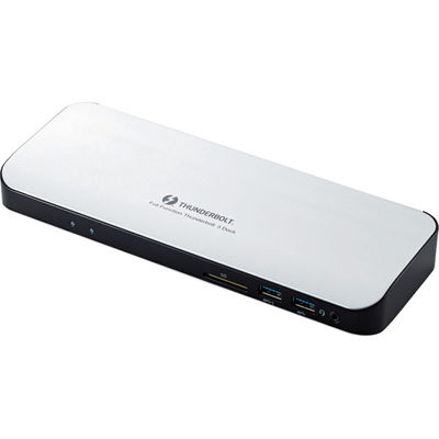 エレコム Type-Cドッキングステーション/PD対応/ThunderBolt3対応Type-C2ポート/USB(3.0)5ポート/HDMI1ポート/4極φ3.5端子/SDスロット/LANポート/ACアダプタ同梱/シルバー DST-TB301SV