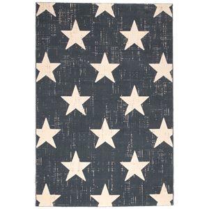 その他 ビンテージ風 ラグマット/絨毯 【140cm×200cm ブルー】 長方形 ベルギー製 ウィルトン 『CANVAS スター』【代引不可】 ds-2113418