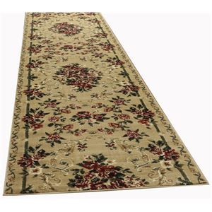 その他 トルコ製 ラグマット/絨毯 【80cm×440cm ベージュ】 長方形 ウィルトン 『ロゼ』 〔リビング ダイニング 寝室〕【代引不可】 ds-2113707
