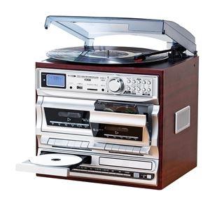 その他 多機能音楽プレーヤー 【幅32.5cm】 レコード CD カセット ラジオ 『マルチダブルオーディオレコードプレイヤー』 ds-2130580