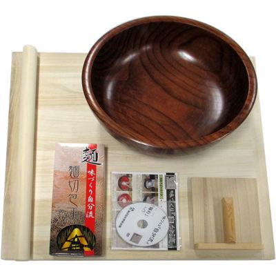 豊稔企販 麺打ちセット(麺切包丁、麺台、こね鉢、麺棒、こま板、DVD) A-2001 4543983520012