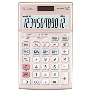 その他 カシオ 本格実務電卓 12桁ジャストタイプ ピンク JS-20WK-PK 1台 ds-2136342