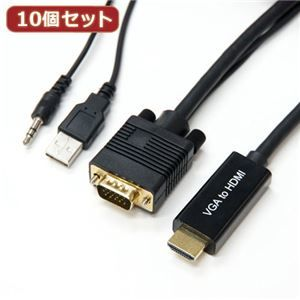 その他 10個セット HORIC VGA→HDMI 変換ケーブル 2m ブラック VGHD20-030BKX10 ds-2147601