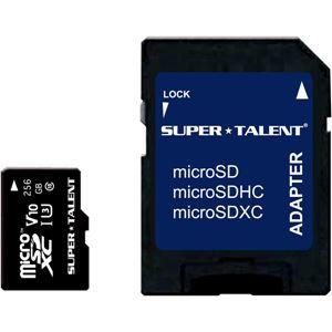 その他 SUPERTALENT UHS-I microSDXCメモリーカード 256GB Class10SDXC変換アダプタ付 ds-2150642
