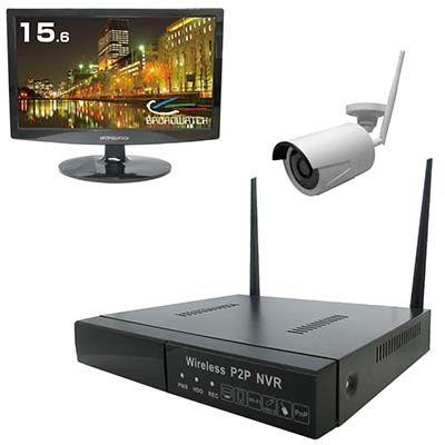 ブロードウォッチ 【スマホ監視・オート設定】Wi-Fi防犯カメラ(1台)・レコーダー・モニターセット SEC-S-WR-16L-720P-1N