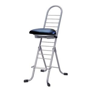 その他 シンプル 折りたたみ椅子 【ブラック×シルバー】 幅420mm 日本製 スチールパイプ 『プロワークチェア ラウンド』【代引不可】 ds-2154298