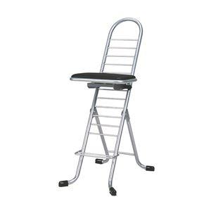 その他 シンプル 折りたたみ椅子 【ブラック×シルバー】 幅420mm 日本製 スチールパイプ 【代引不可】 ds-2154301