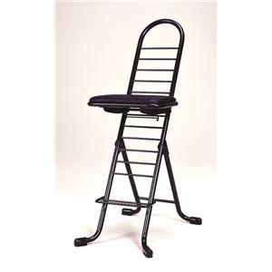 その他 シンプル 折りたたみ椅子 【ブラック×ブラック】 SH83~33cm 日本製 スチールパイプ 『プロワークチェア』【代引不可】 ds-2154304
