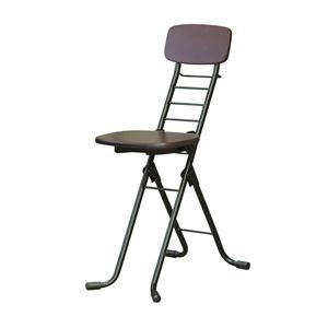 その他 折りたたみ椅子 【2脚セット ダークブラウン×ブラック】 幅35cm 日本製 高さ6段調節 スチールパイプ 『リリィチェアM』【代引不可】 ds-2154326