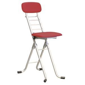 その他 折りたたみ椅子 【4脚セット レッド×シルバー】 幅35cm 日本製 高さ6段調節 スチールパイプ 【代引不可】 ds-2154332