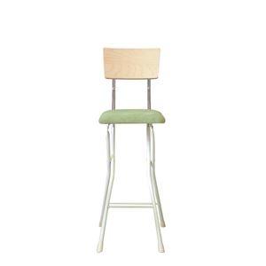 その他 折りたたみ椅子 【同色2脚セット ナチュラル×グリーン×ミルキーホワイト】 幅37cm 日本製 スチールパイプ 『アッシュウッドチェア ハイ』【代引不可】 ds-2154341