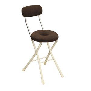 その他 円座 折りたたみ椅子 【4脚セット ブラウン×ミルキーホワイト】 幅33cm 日本製 スチール 【代引不可】 ds-2154361