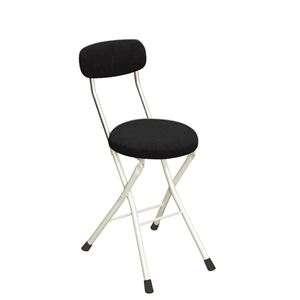 その他 円座 折りたたみ椅子 【4脚セット ブラック×ミルキーホワイト】 幅33cm 日本製 スチール 『ラウンドクッションチェア』【代引不可】 ds-2154367