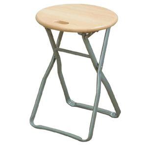 その他 折りたたみ椅子 【4脚セット ナチュラル×シルバー】 幅32cm 日本製 木製 スチールパイプ 【代引不可】 ds-2154398