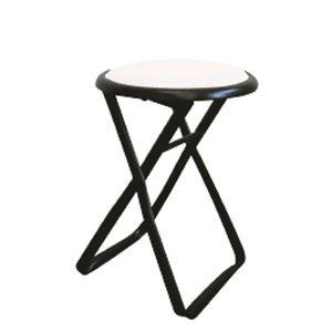 その他 折りたたみ椅子 【6脚セット ホワイト×ブラック】 幅32cm 日本製 スチールパイプ 『キャプテンチェア』【代引不可】 ds-2154404