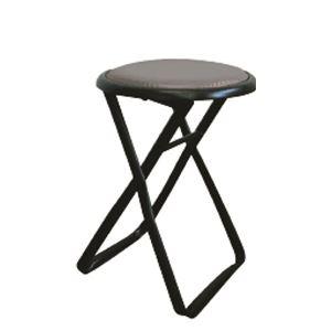 その他 折りたたみ椅子 【6脚セット ブラック×ブラック】 幅32cm 日本製 スチールパイプ 【代引不可】 ds-2154405