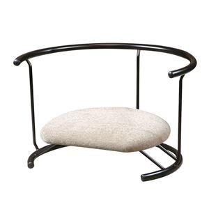 その他 あぐら椅子/正座椅子 【背もたれ付き モスホワイト×ブラック】 幅60cm 耐荷重80kg 日本製 スチール 〔リビング〕【代引不可】 ds-2154426