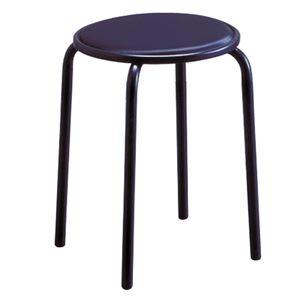 その他 スタッキングチェア/丸椅子 【同色6脚セット ラインブラック×ブラック】 幅33cm 日本製 スチールパイプ 『サークルジャンボ』【代引不可】 ds-2154482
