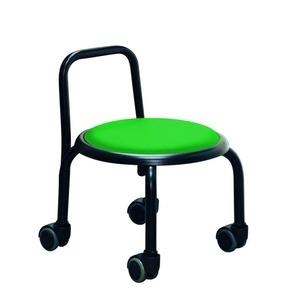 その他 スタッキングチェア/丸椅子 【同色3脚セット グリーン×ブラック】 幅32cm スチールパイプ 『背付ローキャスターチェア ボン』【代引不可】 ds-2154504