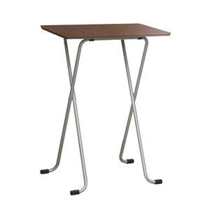 その他 折りたたみハイテーブル 【角型 ダークブラウン×シルバー】 幅60cm 日本製 木製 スチールパイプ 〔ダイニング リビング〕【代引不可】 ds-2154573