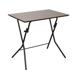 その他 折りたたみテーブル 【幅75cm ダークブラウン×ブラック】 日本製 木製 スチールパイプ 『スタンドタッチテーブル755』【代引不可】 ds-2154580