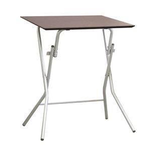 その他 折りたたみテーブル 【幅63.5cm ダークブラウン×シルバー】 日本製 木製 スチールパイプ 『スタンドタッチテーブル645』【代引不可】 ds-2154589
