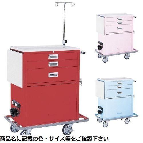 松吉医科器械 ワイド救急カート(3段) YL-EC02P(ピンク) CMD-00867268【納期目安:3週間】