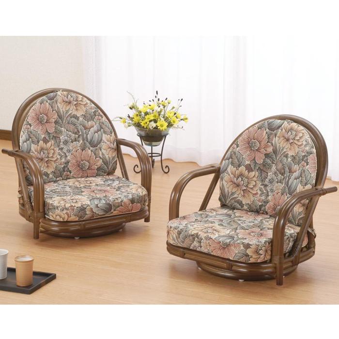 今枝商店 籐デラックス回転座椅子2脚組 ロータイプ【沖縄・離島配達不可】 ZH31S330B
